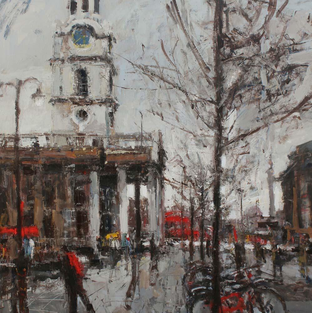 St Martins towards Trafalgar Sq. 36x36 inches Oil on Canvas £4995.00