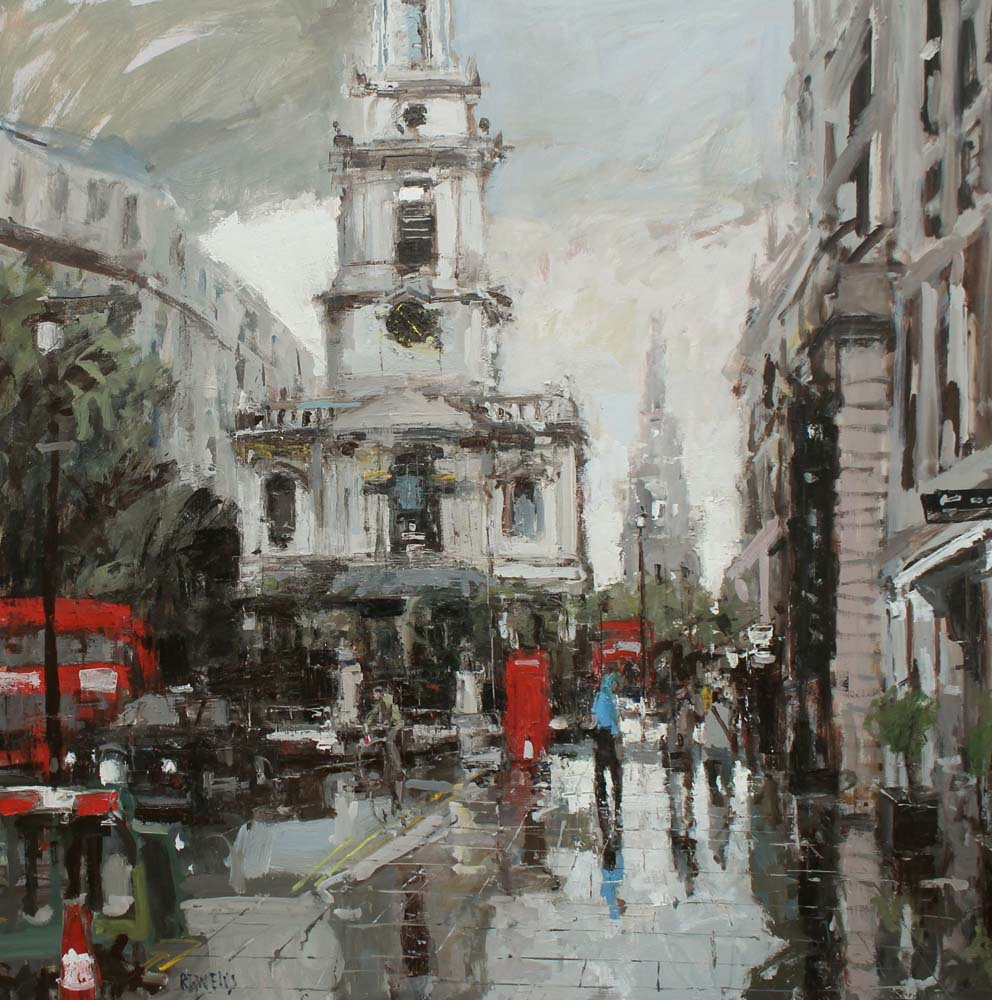 St Mary Axe towards the City 36 x 36 inches Oil on Canvas £4995.00.