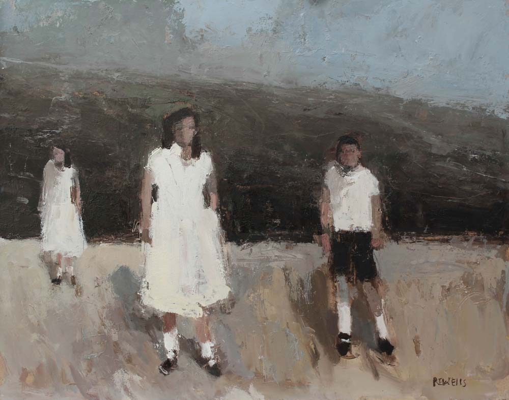 "2 Girls 1 Boy 18""x15"", oil on panel."
